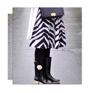 Chanel Black Camellia Flower Rain Boots